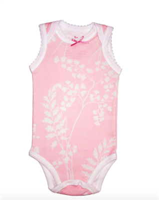 baby sleeveless onesie in pink with white fern print