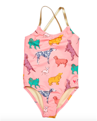 toddler one piece swimsuit in a pink with dogs all over it and gold lame strap