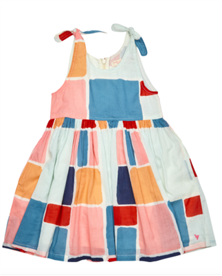 toddler summer dress with zipper back and tie straps on the shoulder in a multi colored paint square print