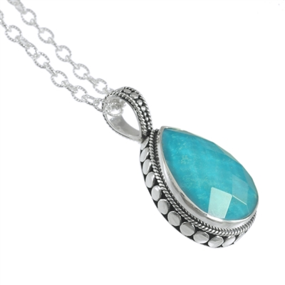 Sterling silver 2 strand beaded chain with turquoise tear drop pendant