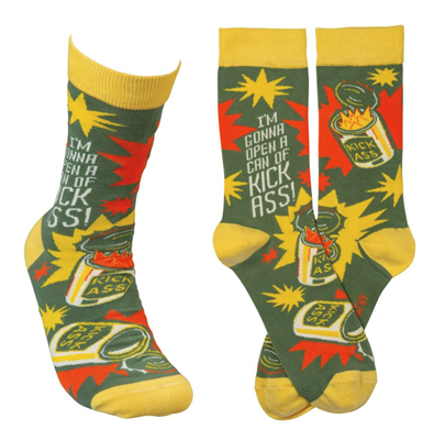 "women's socks that read ""Im gonna open a can of kick ass"""