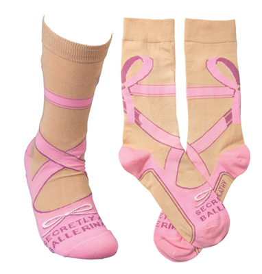 "women's socks that read ""secretly a ballerina"""