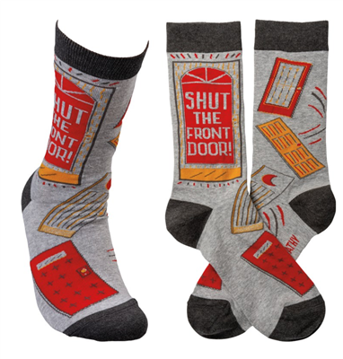 "women's socks that read ""shut the front door"""