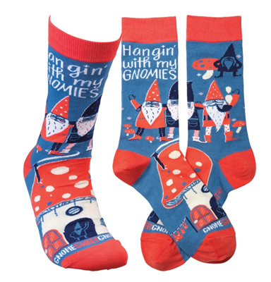 "women's socks that read ""hanging with my gnomies"""