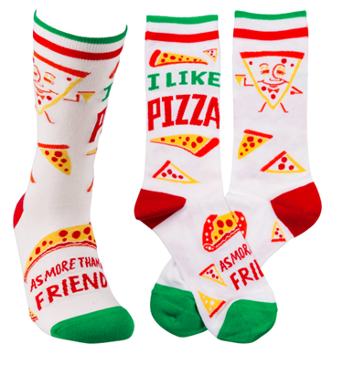 "women's white socks that read ""i like pizza as more than a friend"""