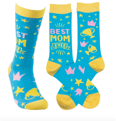 blue socks that read best mom ever