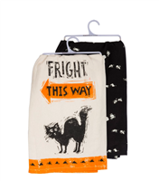 set of 2 cotton halloween dish towels