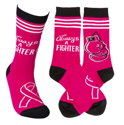 pink socks that read always a fighter
