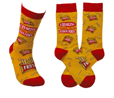 yellow socks that read exercise, i thought you said extra fries