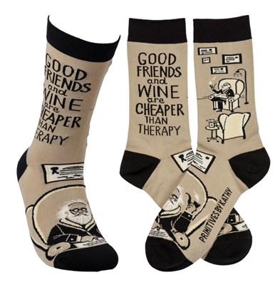 "women's socks that read ""good friends and wine are cheaper than therapy"""