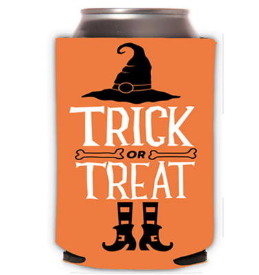 Orange neoprene can cooler that says Trick or Treat