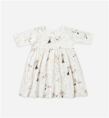 baby cream cotton dress with birds on it