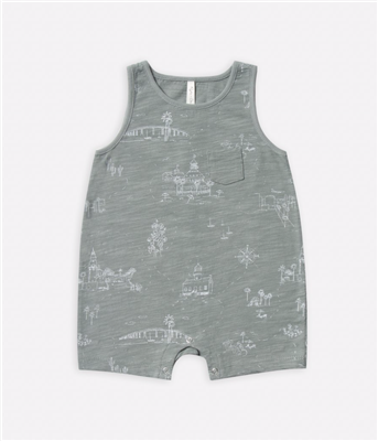 Green baby cotton sleeveless romper.