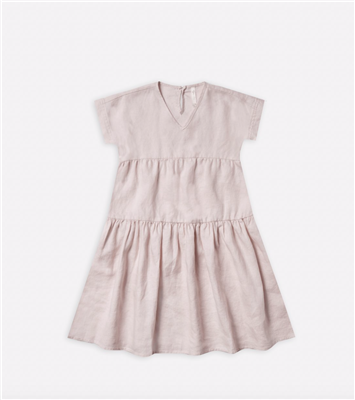 Lilac linen short sleeve toddle dress