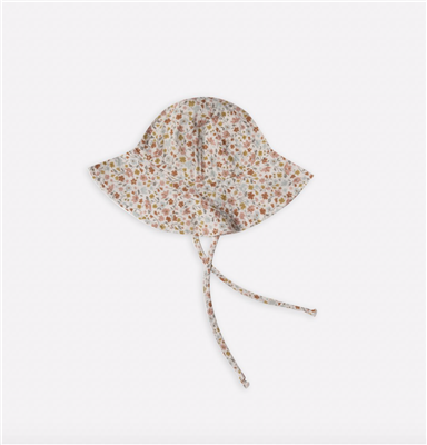Floral linen floppy hat for baby