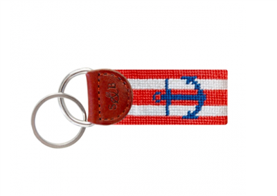 Striped Anchor Needlepoint Key Fob with leather trim