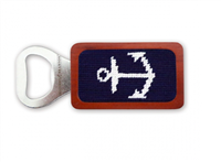 magnetic wood bottle opener with navy needlepoint anchor