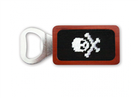 magnetic wood bottle opener with black needlepoint skull and crossbones