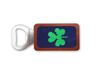 magnetic wood bottle opener with needlepoint with shamrock on the front