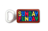 magnetic wood bottle opener with needlepoint that reads Sunday Funday