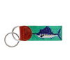 green needlepoint key fob with Billfish