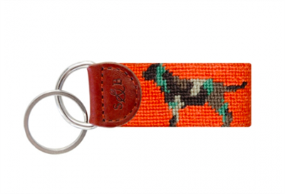 orange needlepoint key fob with camo lab dog