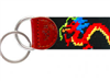 black Needlepoint Key Fob with red dragon