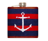 navy and red Striped Anchor Needlepoint Flask