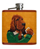 yellow needlepoint flask with a Booze Hound on one side and a picture of a hound dog on the back