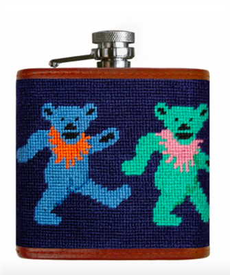 navy needlepoint flask with multi colored dancing bears