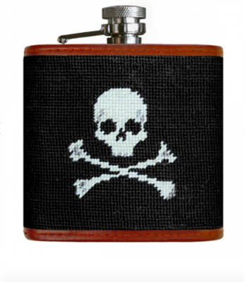 black Jolly Roger needlepoint flask