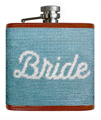 blue Bride needlepoint flask