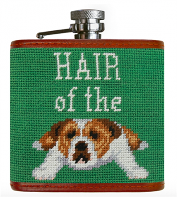 needlepoint flask that reads hair of the dog
