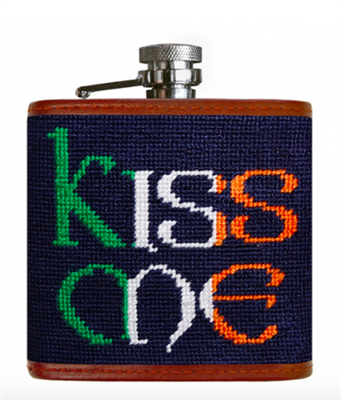 "navy needlepoint flask with ""Kiss Me"" on it"