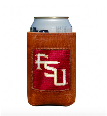 Florida State University leather Can Cooler with needlepoint front