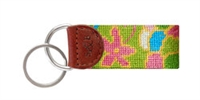 Flower Print Needlepoint Key Fob
