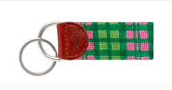 green and pink Plaid Needlepoint Key Fob