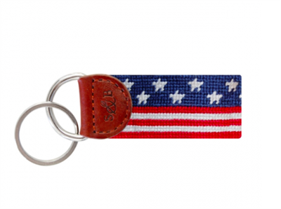red white and blue stars and stripes Needlepoint Key Fob