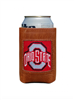 leather can cooler with Ohio State in needlepoint on the front