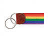 Rainbow needlepoint key fob