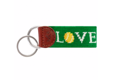 Tennis Love Needlepoint Key Fob