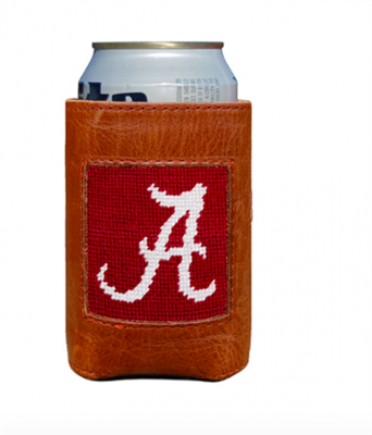 leather can holder with University of Alabama needlepoint on the front
