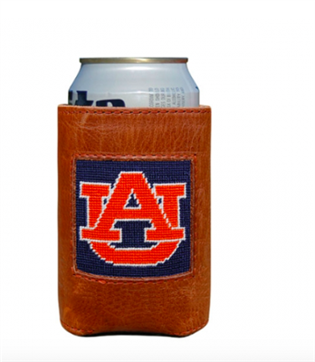 leather can holder with needlepoint Auburn University on the front