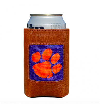 leather can holder with needlepoint Clemson University on the front