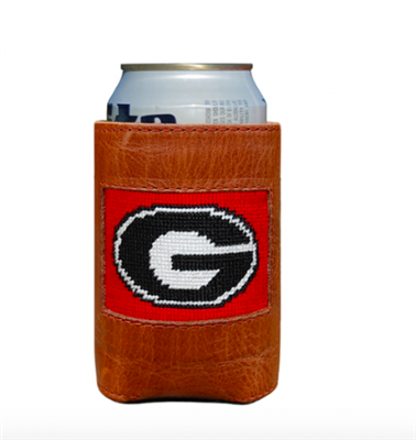 leather can holder with needlepoint University of Georgia on the front