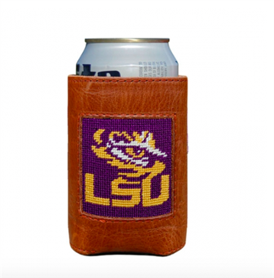 leather can holder with needlepoint LSU on the front