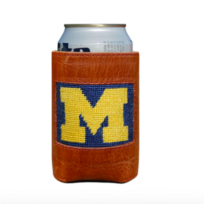leather can holder with needlepoint University of Michigan on the front