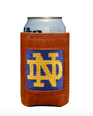 leather can cooler with Notre Dame in needlepoint