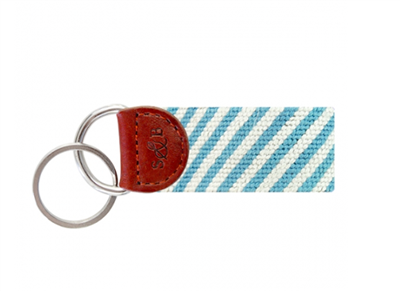 blue and white stripe seersucker Needlepoint Key Fob with leather trim