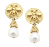 Round Gold Bee and pearl Earrings from Susan Shaw